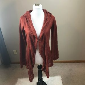 Decree Burnt Orange Open Cardigan